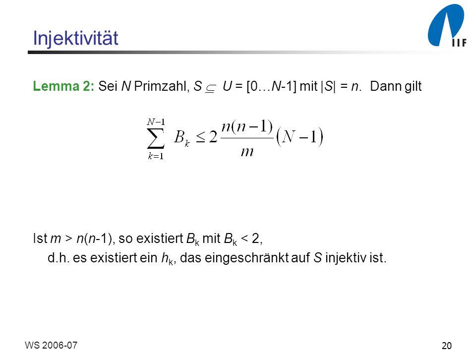 Injektivität Lemma 2: Sei N Primzahl, S  U = [0…N-1] mit |S| = n. Dann gilt. Ist m > n(n-1), so existiert Bk mit Bk < 2,